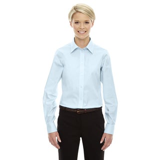 Crown Women's Collection Solid Oxford Crystal Blue Shirt