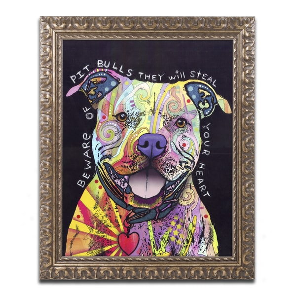 Dean Russo 'Beware of Pit Bulls' Ornate Framed Art