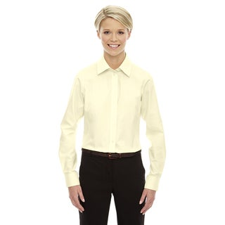 Crown Women's Collection Solid Oxford Transparent Yellow Shirt