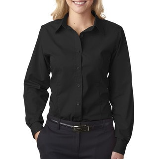 Easy-Care Women's Broadcloth Black Shirt