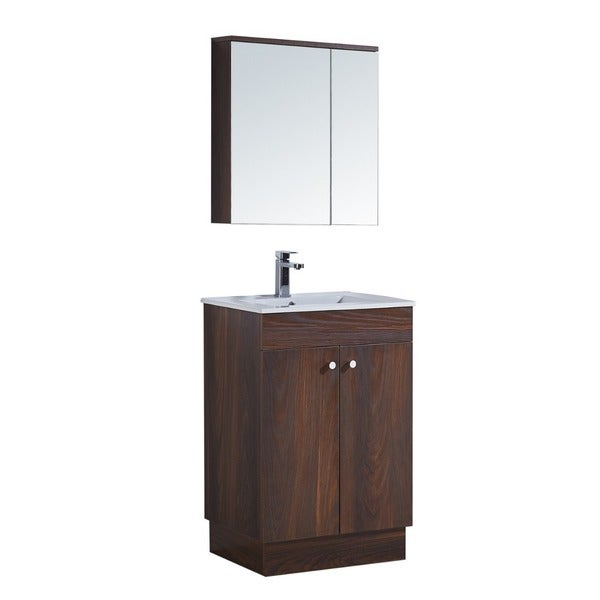 24 Inch Bathroom Vanity With Ceramic Sink And Matching Medicine Cabinet