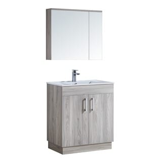 29-inch Bathroom Vanity with Ceramic Sink and Matching Medicine Cabinet
