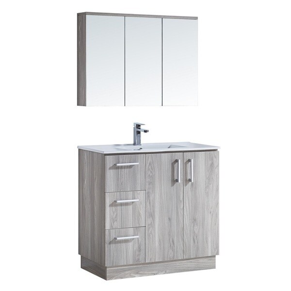 35 Bathroom Vanity With Ceramic Sink With Matching Medicine Cabinet Free Shipping Today