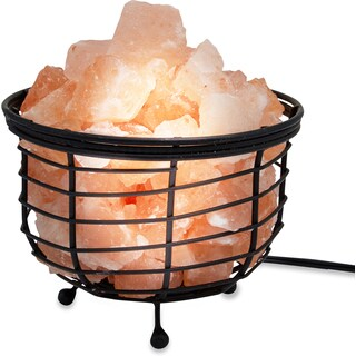 Zennery Himalayan Salt Wrought Iron Kettle-shape Basket Lamp