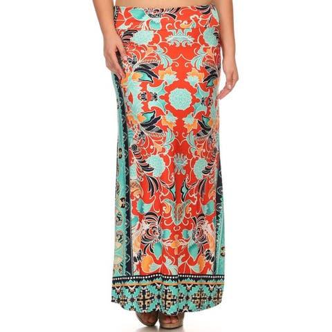 Women's Plus Size Paisley Maxi Skirt