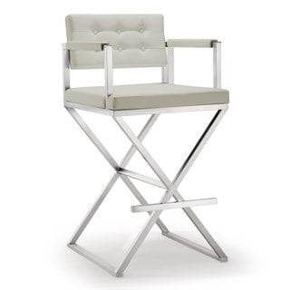 Director Light Grey Faux Leather Steel Bar Stool