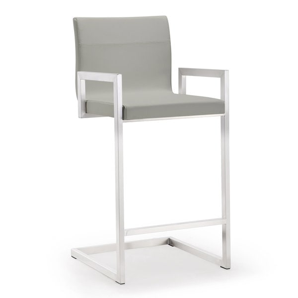Shop Milano Set Of 2 Light Grey Faux Leather Stainless