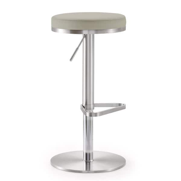 Sensational Shop Fano Light Grey Faux Leather Stainless Steel Bar Stool Gmtry Best Dining Table And Chair Ideas Images Gmtryco