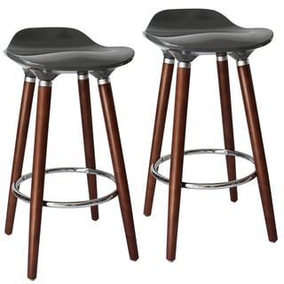 Trex II Set of 2 Grey ABS Seat Wood base Stool