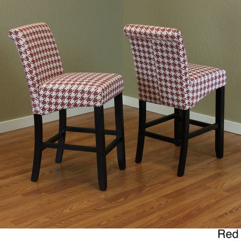 Milan Houndstooth Linen Upholstery Armless Counter Chairs (Set of 2)