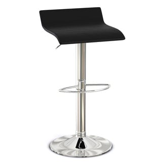 Black Faux-Leather and Chrome Adjustable Barstools (set of 2)