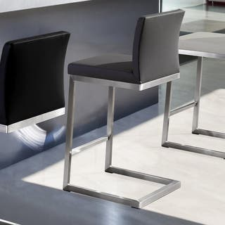 Parma Set of 2 Light Grey Faux Leather Stainless Steel Counter Stool|https://ak1.ostkcdn.com/images/products/12301463/P19137143.jpg?impolicy=medium
