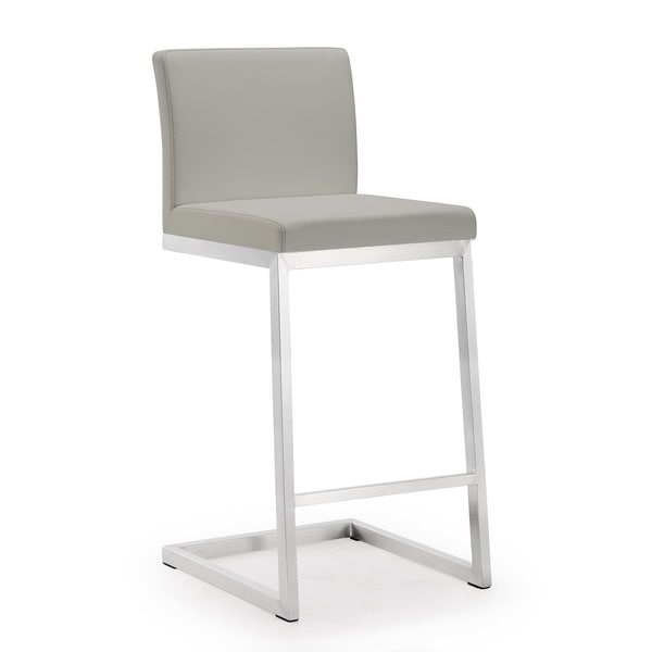 Parma Set Of 2 Light Grey Faux Leather Stainless Steel Counter Stool