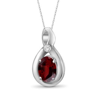 Jewelonfire Sterling Silver 5/8ct TW Garnet and Diamond Accent Pendant