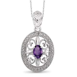 Jewelonfire Sterling Silver 2/5ct TW Amethyst and Diamond Accent Pendant