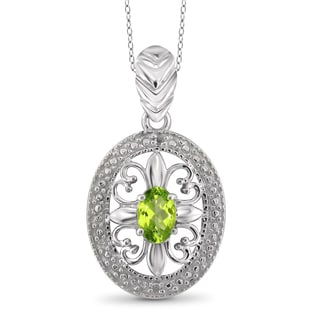Jewelonfire Sterling Silver 1/2ct TW Peridot and Diamond Accent Pendant