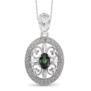 Jewelonfire Sterling Silver 1/2ct TW Mystic Topaz and Diamond Accent Pendant