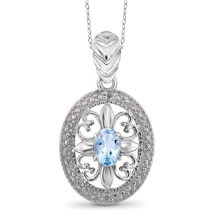 Jewelonfire Sterling Silver 5/8ct TW Sky Blue Topaz and Diamond Accent Pendant