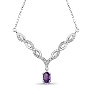 Jewelonfire Sterling Silver Amethyst And Diamond Necklace
