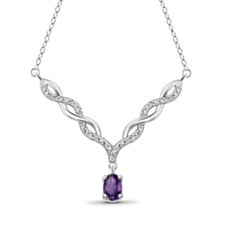 Jewelonfire Sterling Silver 2/5ct TW Amethyst and Diamond Necklace