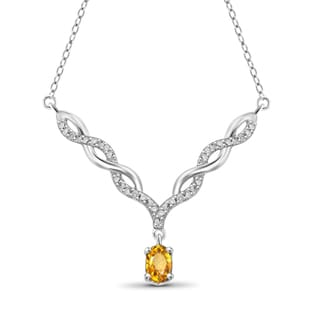 Jewelonfire Sterling Silver 1/2ct TW Citrine and Diamond Necklace