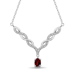 Jewelonfire Sterling Silver 5/8ct TW Garnet and Diamond Necklace