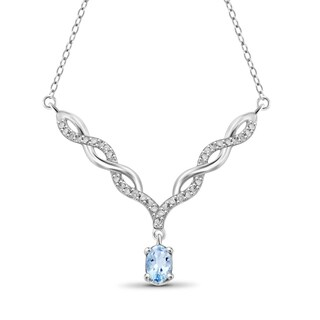 Jewelonfire Sterling Silver 5/8ct TW Sky Blue Topaz and Diamond Necklace