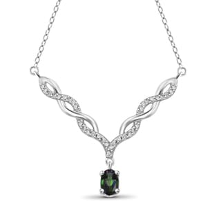 Jewelonfire Sterling Silver 1/2ct TW Mystic Topaz and Diamond Necklace