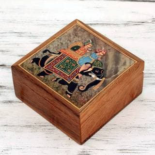 Handcrafted Teakwood Soapstone 'Elephant Journey' Jewelry Box (India)
