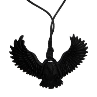 Handcrafted Men's Horn 'Black Garuda' Necklace (Indonesia)