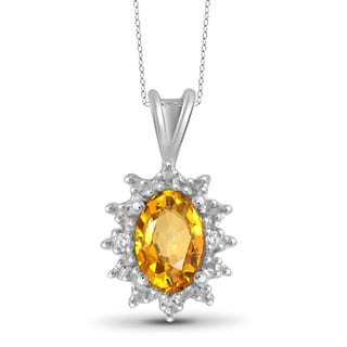 Jewelonfire Sterling Silver 1/2ct TW Citrine and Diamond Accent Pendant