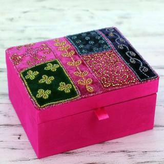 Handcrafted Embellished Satin 'Fuchsia Garden' Jewelry Box (India)