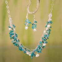 Handmade Sterling Silver 'Cancun Muse' Pearl Turquoise Jewelry Set (10 mm) (Mexico)