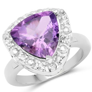 Malaika Sterling Silver 4 1/10ct TW Amethyst and White Topaz Ring