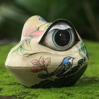 Handcrafted Crocodile Wood 'Ubud Frog' Jewelry Box (Indonesia)