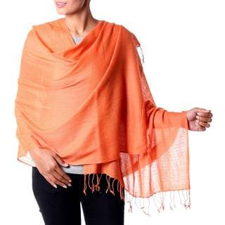 Handmade Wool 'Orange Diamond Fantasy' Shawl (India)