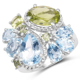 Malaika Sterling Silver 8 1/10ct TW Peridot and Blue Topaz Ring