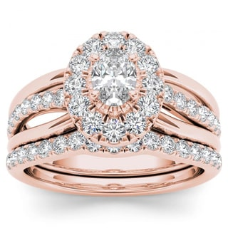 De Couer 14k Rose Gold 1ct TDW Oval Shape Diamond Halo Bridal Set (H-I, I2)