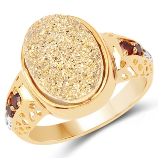 Malaika 14k Goldplated .925 Sterling Silver 4 3/4ct TGW Genuine Golden Drusy/ Garnet/ White Topaz Ring