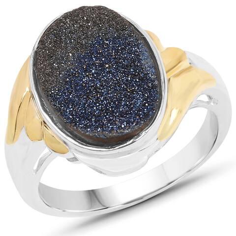 Malaika Two-tone Silver 4 1/6ct TW Blue Drusy Ring