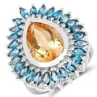 Malaika Sterling Silver 7 1/2ct TW Citrine and London Blue Topaz Ring