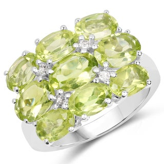 Malaika Sterling Silver 5 1/3ct TW Peridot and White Topaz Ring