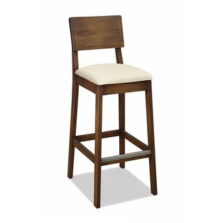 Artefama Gourmet Distressed Walnut Fabric Bar Stool