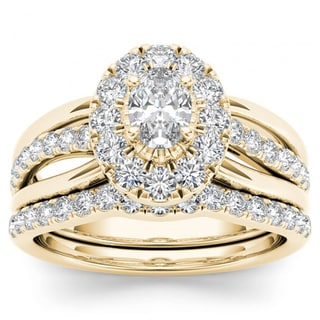 De Couer 14k Yellow Gold 1ct TDW Oval Shape Diamond Halo Bridal Set (H-I, I2)