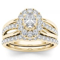 De Couer 14k Yellow Gold 1ct TDW Oval Shape Diamond Halo Bridal Set