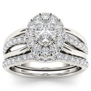 De Couer 14k White Gold 1ct TDW Oval Shape Diamond Halo Bridal Set (H-I, I2)