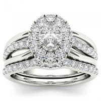 De Couer 14k White Gold 1ct TDW Oval Shape Diamond Halo Bridal Set - White H-I