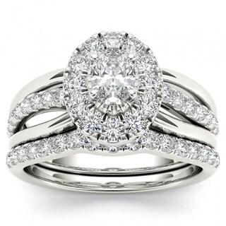 De Couer 14k White Gold 1ct TDW Oval Shape Diamond Halo Bridal Set - White H-I