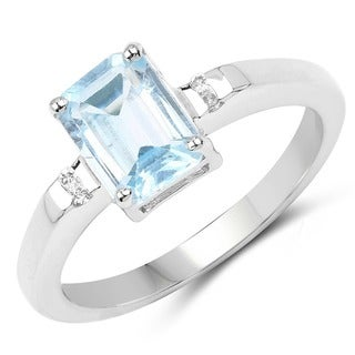 Malaika Sterling Silver 1 5/8ct TW Blue Topaz and White Topaz Ring