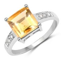 Malaika .925 Sterling Silver 2 3/8ct TGW Genuine Citrine and White Topaz Ring